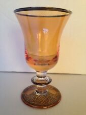 Amber Glass with Silver design Water Goblet by Arte Italica contessa design