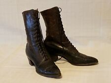 Antique Victorian High Top Brown Black Leather Granny Lace Up Boots - Final List