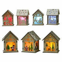 Christmas LED Light Wood HOUSE Cute Xmas Tree Hanging Ornaments Holiday Decor