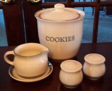 Pfaltzgraff JUNIPER Cookie Jar, Gravy Boat, Salt & Pepper Stoneware Green/Mauve