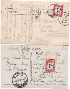 # 1916/30 2 DIFF 1d POSTAGE DUES SOUTH AFRICA PPCs CLAREMONT & WARNERS BEACH