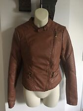 NEW Wet Seal Women's Brown Leather Jacket, Size Small, Cute With Zippers