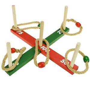 Family Kids Ring Toss Rope Quoits Pegs Hoopla Wooden Garden Classic Outdoor Game