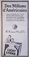 PUBLICITÉ DE PRESSE 1924 CIGARETTES LUCKY STRIKE TABAC AMÉRICAINS - TABAC