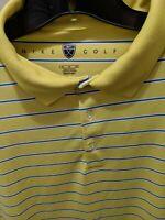 Nike Golf Mens XL Polo Shirt Short Sleeve Yellow Striped EUC golf outdoors