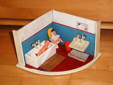 Puppenstube Badezimmer Bad Diorama Kinder Spielzeug mit Puppen Vintage selten
