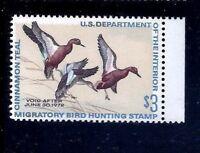US RW38 = MNH OG 1971 'Cinnamon Teal' $3  Duck Stamp ~ Always Free Shipping!