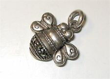 BUMBLE Honey BEE B Vintage Enamel Marcasite Mine Sterling Silver CHARM Pendant