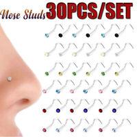 Piercing en la nariz Tornillo Stud cristal Fosa nasal Hoop Anillo de la nariz