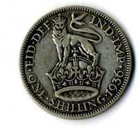 Moneda Gran Bretaña 1936 one shilling George V British plata .500 silver coin