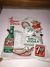 Vintage Original 1960s 7 UP SEVEN UP Tennis Plastic Vacuform Advertising Sign