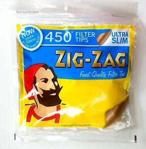 2 X 450 ZIG ZAG ULTRA SLIM FILTER TIPS RESEALABLE BAG
