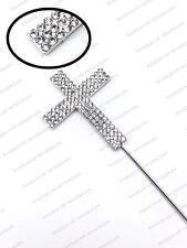 Silver Diamond Diamante Cross Cake Topper Holy Communion Christening Decoration