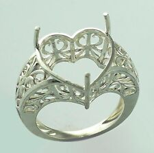 Semi Mount Love Heart Shape Ring 15 MM 925 Sterling Silver Engagement Jewelry