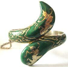 Vintage Nielloware Sterling Silver Dancing Figures Green Enamel Clamper Bracelet