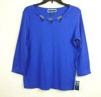 Karen Scott Womens Top size S Blue Cut out Chain Neck Stretch Knit 3/4 Sleeve