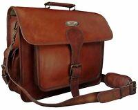 """16"""" Leather Vintage Messenger Shoulder Men Satchel S Laptop School Briefcase Bag"""