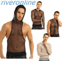 Mesh T-shirt Gym Training Tank Top Mens Fishnet Sports Muscle Vest Tops Clubwear