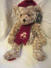 "Holiday Christmas Plush Stuffed Brown 13"" Teddy Bear 1999 Harrods London England"