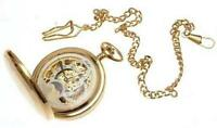 Gold plated on brass mechanical skeleton full hunter pocket watch sun and moon