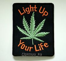 "1x Big Marijuana Pot Leaf Cannabis Herb Weed Embroidered Iron on Patch 4.4""x3.4"""