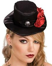 Mini Top Hat Ladies Blk Satin Over Foam Gothic Rose & Skull Design Halloween Hat
