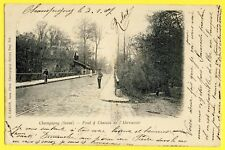 cpa 94 - CHAMPIGNY sur MARNE en 1907 PONT & CHEMIN de l'ABREUVOIR Animé Vélo