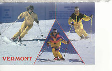 Alpine Skiing  Three Scenes  Vermont   VT  Chrome Postcard 317
