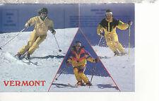 Alpine Skiing  Three Scenes  Vermont   VT  Chrome Postcard 317