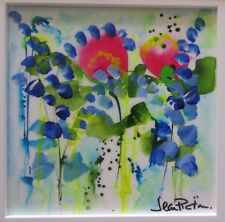 Jean Picton, Catch Me - Original Bold Abstract Floral Painting Canvas 45x45cm