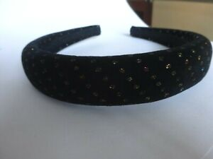 Haarreif schwarz samt Streifen Punkte gold bunt farben  Zenner