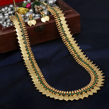South Indian Traditional Gold Plated Long Ginni Coin Necklace Set Temple Jewelry