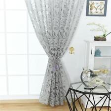 Rideau Voilage de Fenêtre en Voile de Fleur Décoration Maison 100x250cm Gris