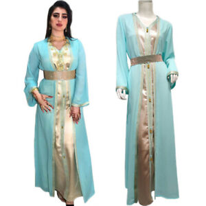 New Dubai Women Maxi Dress Cardigan Set Kaftan Jilbab Turkish Islamic Party Gown