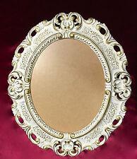 Marco Antiguo Oro Blanco Ovalado Con Vidrio 45x37 BARROCO MARCO DE FOTO