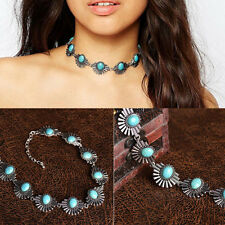 Women Turquoise Beads Pendant Chain Choker Chunky Statement Bib Necklace Jewelry