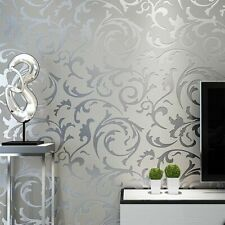 Grey 3D Victorian Damask Embossed Wallpaper Roll Silver Home Decor Bedroom