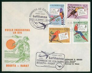 MayfairStamps Columbia 1975 Bogota to Rabat LH 514 Aviation Lufthansa First Flig