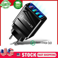 4 Multi Port Fast Quick Charge QC 3.0 USB Hub Wall Charger Adapter US Plug Black