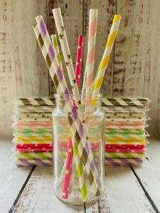 Paper Straws Colourful Range Biodegradable Eco - Friendly Fun Party Event x 50