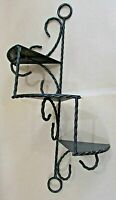 MCM Black Twisted Wire Iron Steel Tin 3 Tier Spiral Stairs Step Shelf FREE S/H