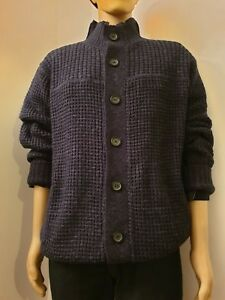 Mens Black Mixed Knit Thick Winter Casual Sweater Turn Down Collar Cardigan S-XL