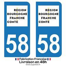 2 STICKERS AUTOCOLLANT PLAQUE IMMATRICULATION DEPT 58 Bourgone-Franche-Comté