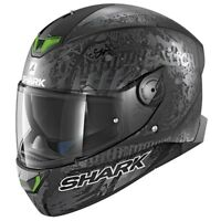 SHARK SKWAL 2 SWITCH RIDER 2 MAT KAS (GREEN LED) -Full Face Motorcycle Helmet ZQ