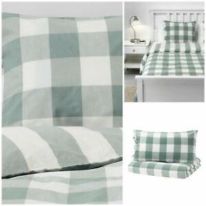 IKEA Emmie Ruta King Size Duvet Cover & 2x Pillow Cases, ( Green )