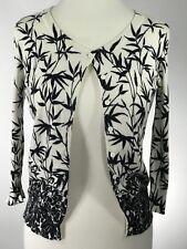 TALBOTS Woman's Ivory Black Leaf Floral Boarder Print Soft Knit Cardigan SZ P