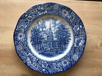 """Liberty Blue Independence Hall Dinner Plate Ironstone Staffordshire 10"""" England"""