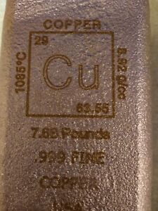COPPER BAR HUGE 7.68 POUND- RUSTIC LOOK- ROUGH FINISH- .999 COPPER EBAY SPECIAL
