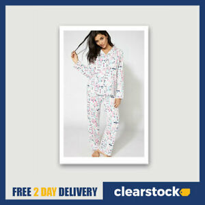 Ex Boux Avenue Ladies Womens Slogan Printed PJs Pyjamas Set in a Bag Size 6 8