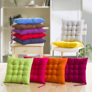 2/4/6/8/10x Seat Pad Dining Room Garden Kitchen Chair Seat Cushions Tie On Plain
